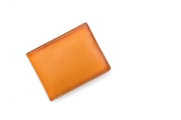 Nova carteira de couro marrom homens isolada no branco