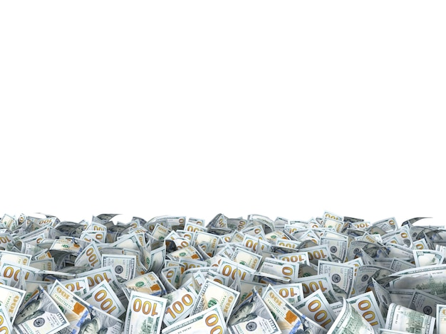 Novas notas de dólares no chão isoladas no branco
