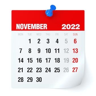 Novembro de 2022 - calendário. isolado no fundo branco. ilustração 3d