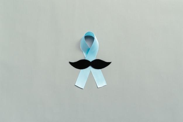 Novembro fita azul claro com bigode mês da conscientização do câncer de próstata