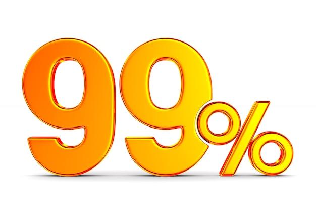 Noventa e nove por cento no espaço em branco. ilustração 3d isolada