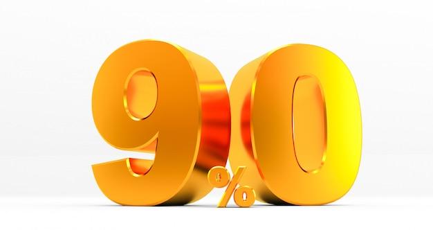 Noventa por cento de ouro sobre fundo branco. venda de ofertas especiais. desconto com o preço é de 90%. renderização em 3d
