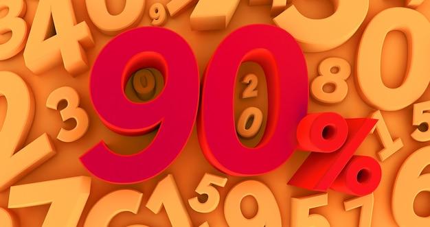 Noventa por cento de vermelho sobre um fundo amarelo com números. 3d render. 90%
