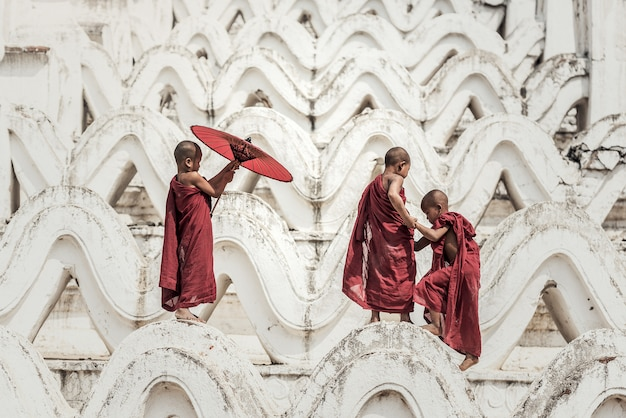 Noviço budista no templo, myanmar