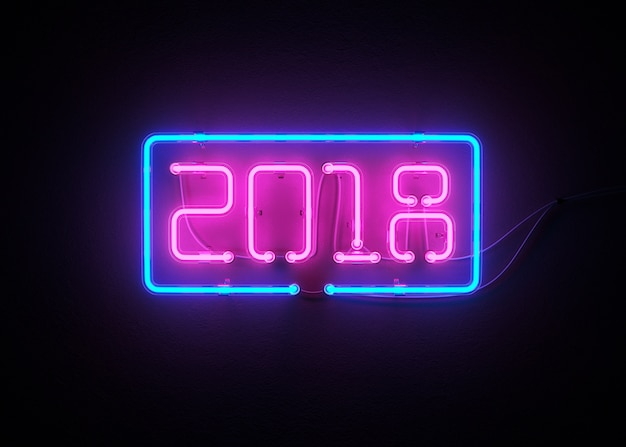Novo ano 2018 feito de renderização de néon alfabeto 3d