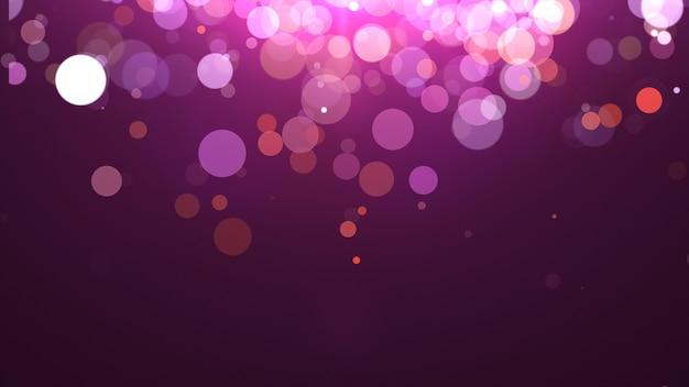 Novo ano 2020. fundo de bokeh. resumo de luzes. cenário de feliz natal. luz de brilho. partículas desfocadas. cores violeta e rosa