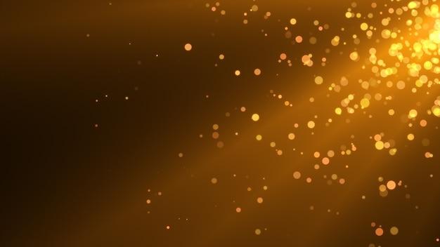 Novo ano 2020. fundo de bokeh. resumo de luzes. cenário de feliz natal. luz de glitter dourados. partículas desfocadas. cor dourada. raios.