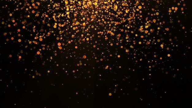 Novo ano 2020. fundo de bokeh. resumo de luzes. cenário de feliz natal. luz de glitter dourados. partículas desfocadas. isolado no preto sobreposição. cor dourada