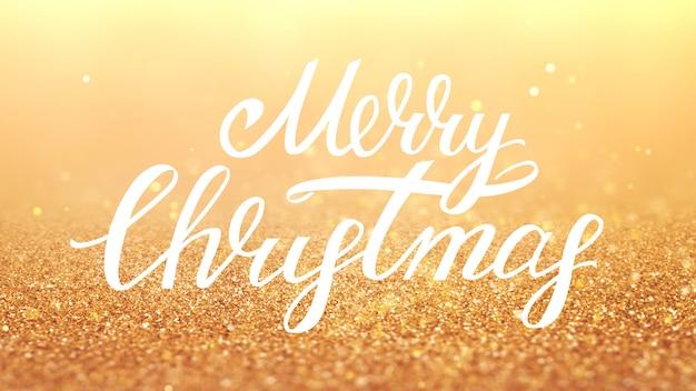 Novo ano 2020. fundo de bokeh. resumo de luzes. cenário de feliz natal. luz de glitter dourados. partículas desfocadas. letras de natal. cor dourada.