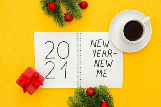 Novo ano novo eu conceito de inspiração isolado plana lay