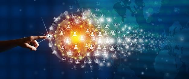 Novo conceito de conexão de negócios global empresário liderando a conexão global