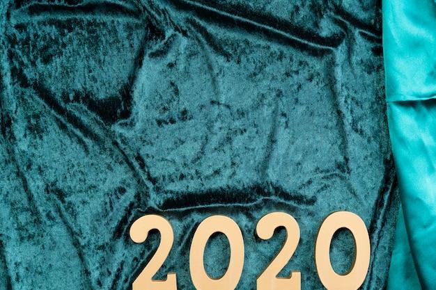 Novo número do ano chinês em veludo turquesa