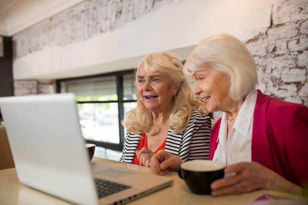 Novo projeto. duas senhoras idosas loiras sentadas em frente ao laptop e parecendo envolvidas
