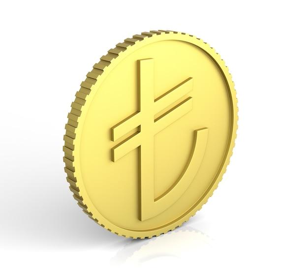 Novo símbolo de lira turca. renderização 3d.