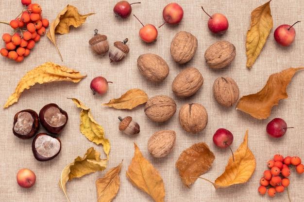 Noz, bagas de sorveira e pequenas maçãs vermelhas em saco marrom, natureza-morta rústica, conceito de colheita de outono.