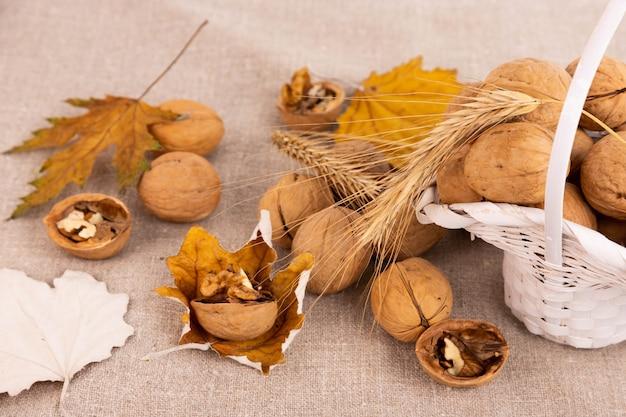 Nozes maduras em uma casca, em uma cesta e folhas de outono em uma superfície de linho