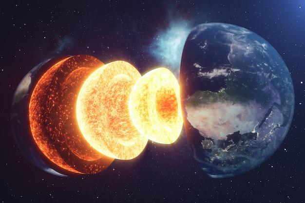 Núcleo da estrutura terra. estruturas de camadas da terra. a estrutura da crosta terrestre. seção transversal da terra na vista do espaço. elementos desta imagem fornecidos pela nasa. renderização em 3d.