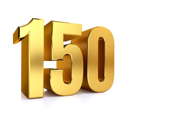 Numeral 150, cento e cinquenta, isolado no fundo branco, render 3d