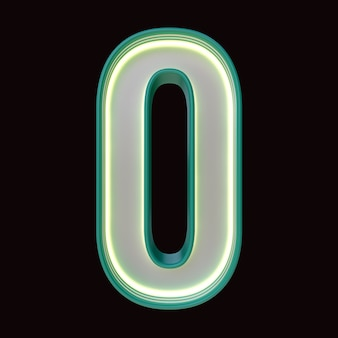 Número 0, alfabeto. número 3d retro isolado em um fundo preto com trajeto de grampeamento. ilustração 3d.