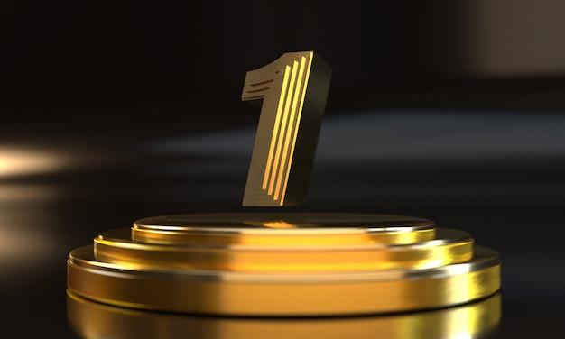Número 1 acima do pedestal dourado triplo com fundo escuro