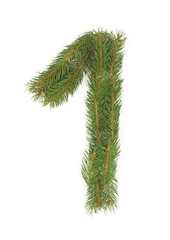 Número 1 - feito de árvore de natal em um espaço em branco