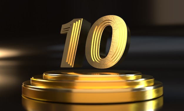 Número 10 acima do pedestal de ouro triplo com fundo escuro
