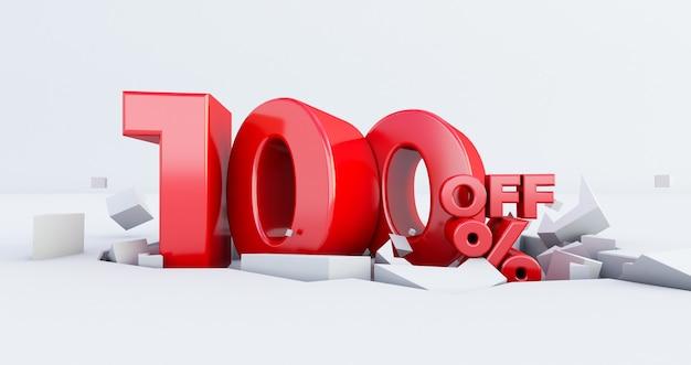 Número 100% vermelho isolado no fundo branco. 100 uma venda hundered por cento. idéia de black friday. até 100%