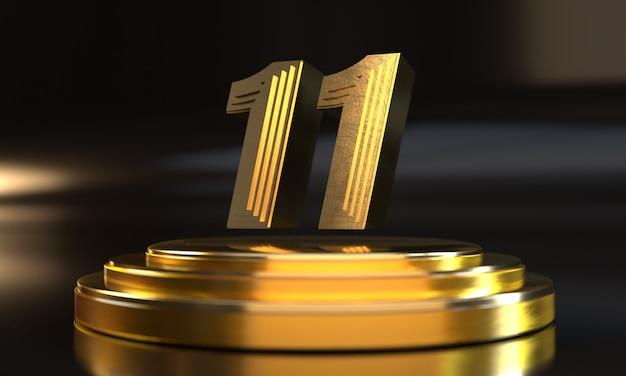 Número 11 acima do pedestal triplo de ouro com fundo escuro