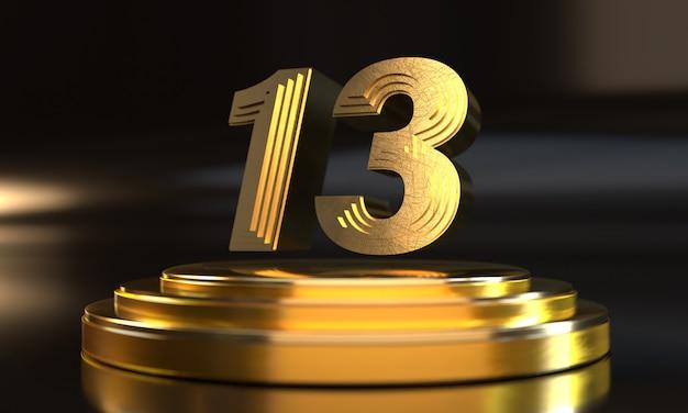 Número 12 acima do pedestal dourado triplo com fundo escuro