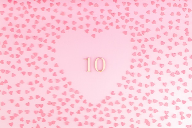 Número 13, dez, madeira, decoração coração, com, corações pequenos