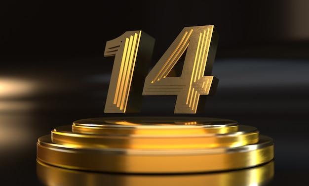 Número 14 acima do pedestal triplo de ouro com fundo escuro