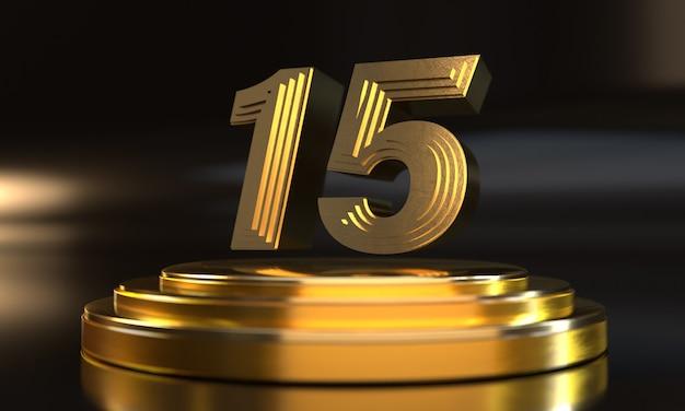 Número 15 acima do pedestal de ouro triplo com fundo escuro