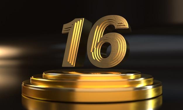 Número 16 acima do pedestal triplo de ouro com fundo escuro