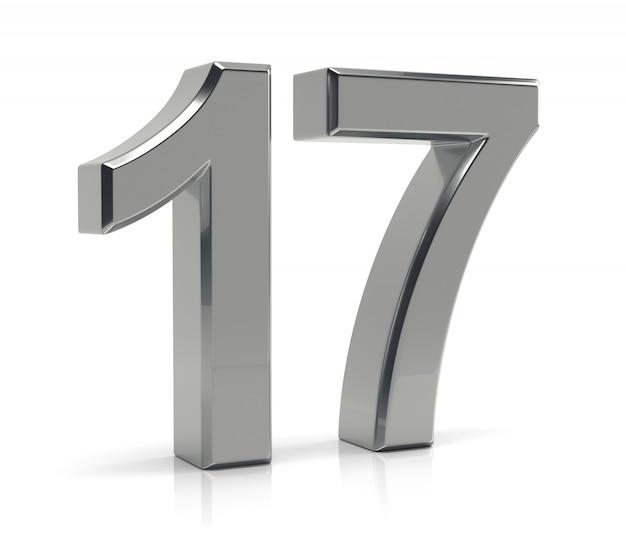 Número 17 isolado no fundo branco