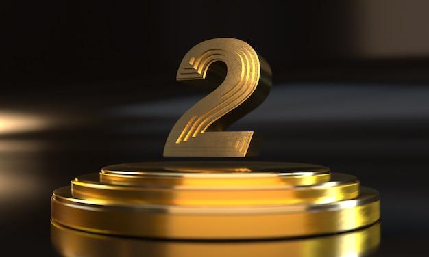 Número 2 acima do pedestal dourado triplo com fundo escuro