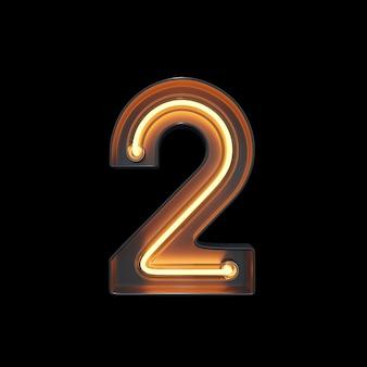 Número 2, alfabeto feito de luz neon