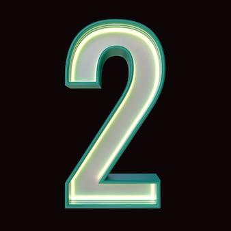 Número 2, alfabeto. número 3d retro isolado em um fundo preto com trajeto de grampeamento. ilustração 3d.
