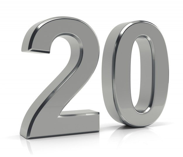 Número 20 isolado no fundo branco