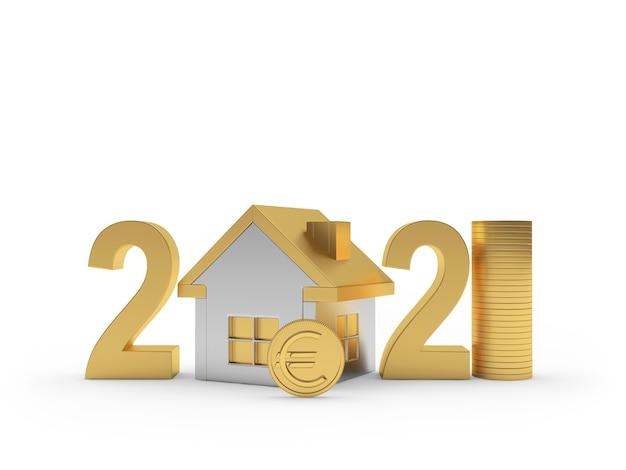 Número 2021 com o ícone da casa e moeda de euro