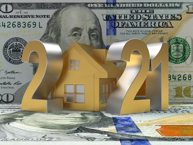 Número 2021 com o ícone de uma casa em notas de dólar