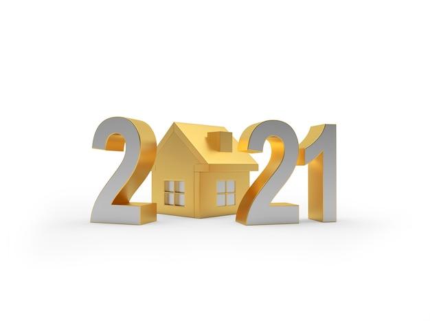 Número 2021 e ícone da casa dourada