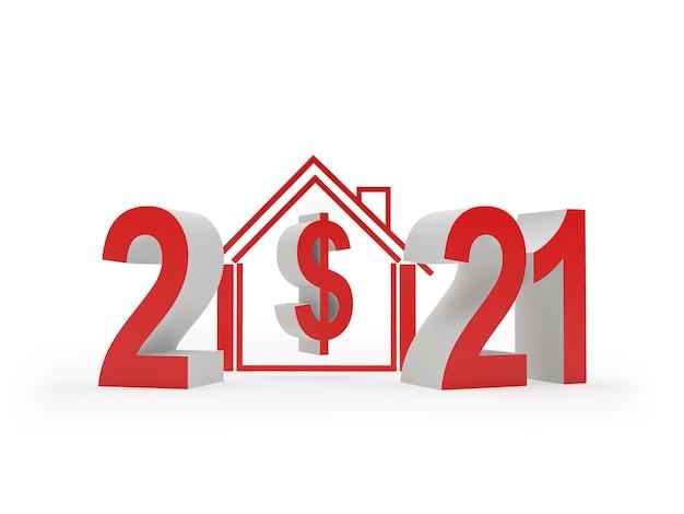 Número 2021 e ícone de casa com cifrão 3d