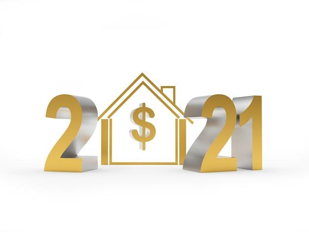 Número 2021 e símbolo da casa com cifrão