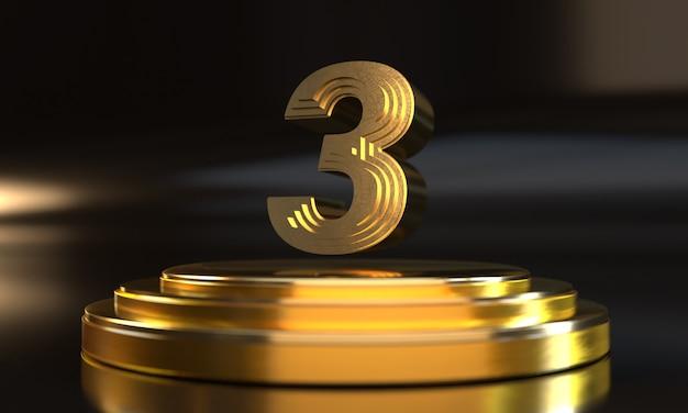 Número 3 acima do pedestal dourado triplo com fundo escuro