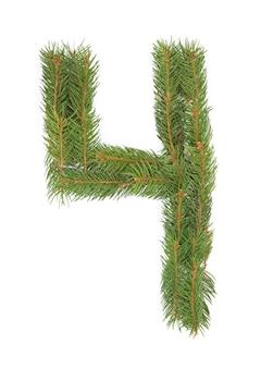 Número 4 - feito de árvore de natal em um espaço em branco
