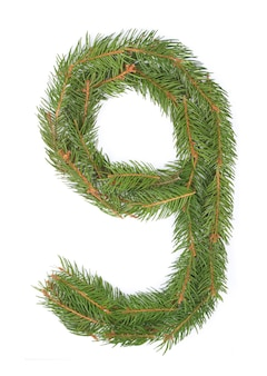 Número 9 - feito de árvore de natal em um espaço branco
