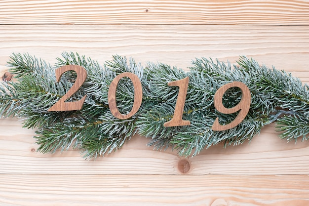 Número de 2019 com pinheiros no fundo de madeira