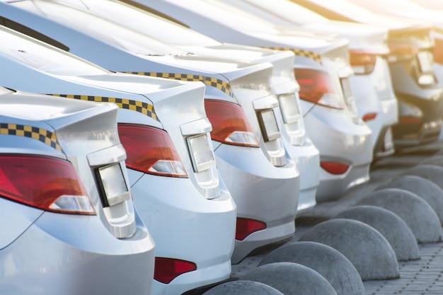 Número de carros de táxi, vista do para-choque traseiro e faróis com porta-malas.