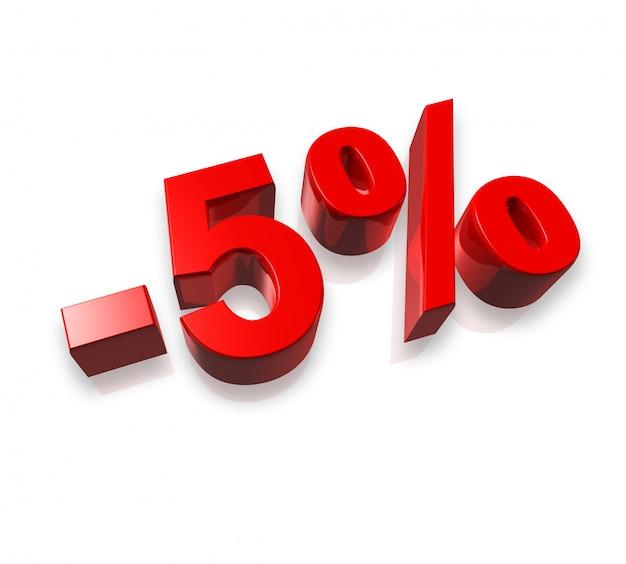 Número de cinco por cento 3d isolado no branco