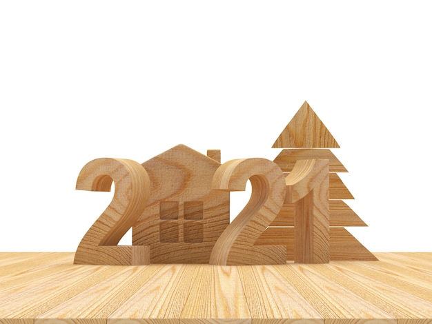 Número de madeira com ícone de casa e árvore de natal